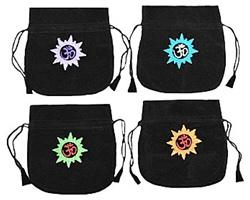 Embroidered Om Velvet Mala Bag