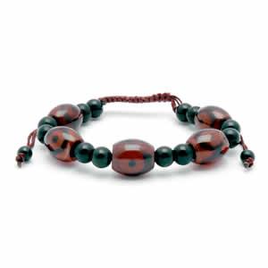 Tibetan Dzi Bracelet – Dark Red