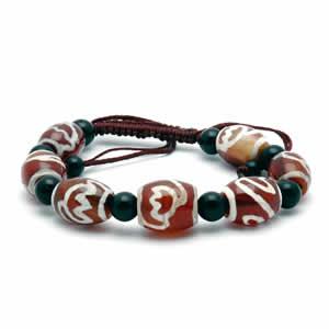 Tibetan Dzi Bead Bracelet – Red & White