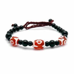 Tibetan Dzi Bracelet – Red & Black