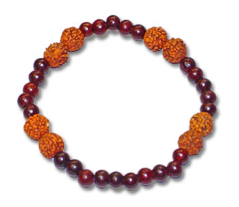 Red Sandal and Rudraksha Bracelet