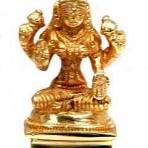 Laxmi Brass Statue w/Gold Finish